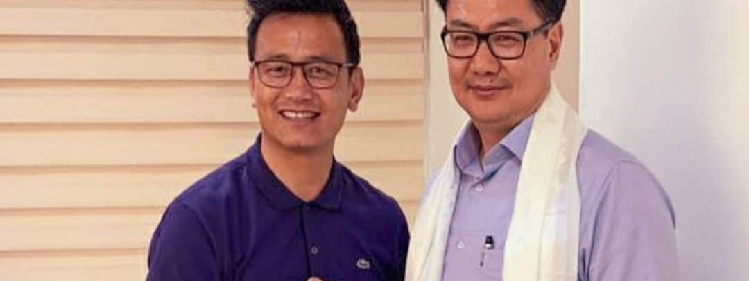Union minister of state for youth affairs & sports and minority affairs Kiren RIjiju (right) with former Indian footballer Bhaichung Bhutia