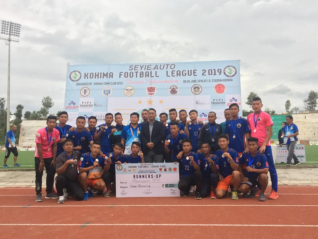Kohima Football League 2019 runner-up Forerunners FC  during the prize distribution ceremony