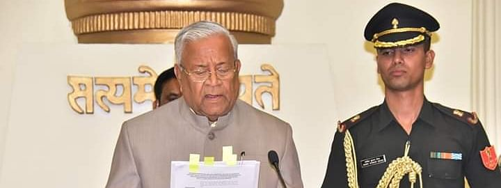PB Acharya sworn in as the Manipur governor at Raj Bhawan, Imphal on Thursday