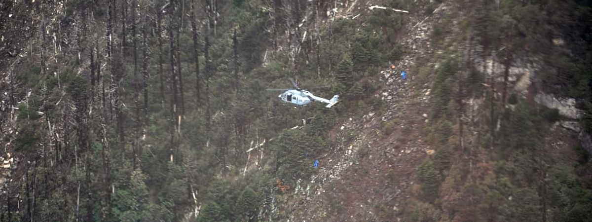 A helicopter involved in the search and recovery operations of the Indian Air Force