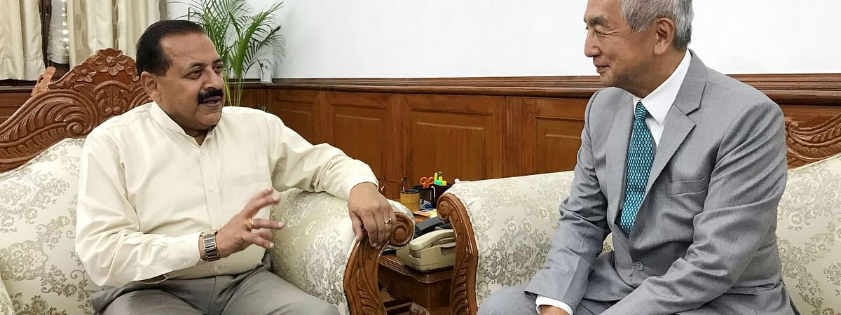 DoNER minister Dr Jitendra Singh interacting with Ambassador of japan in India Hiramastu in New Delhi on Wednesday.