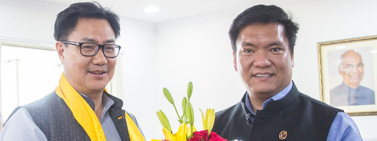 Union minister of state (independent) for sports and youth affairs Kiren Rijiju (left) and Arunachal Pradesh CM Pema Khandu in New Delhi on Monday