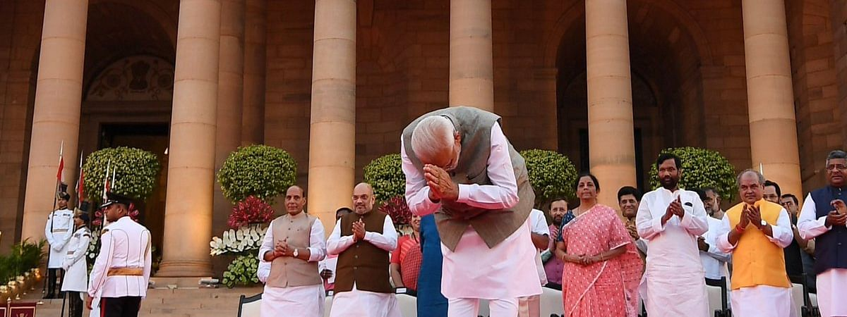 PM Narendra Modi during the swearing-in ceremony of his new Cabinet at Rashtrapati Bhavan in New Delhi on May 30