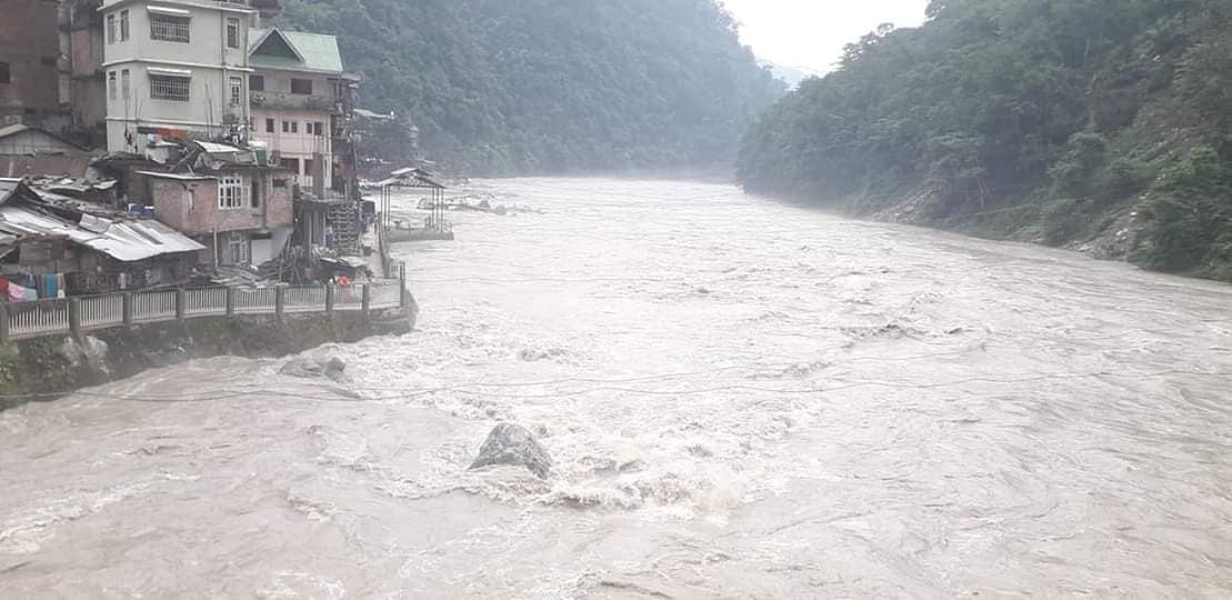 Teesta river flowing above the danger mark in Sikkim on Tuesday