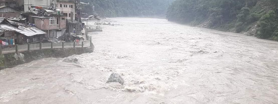 An alert has been sounded for people living along the banks of Teesta river in Sikkim