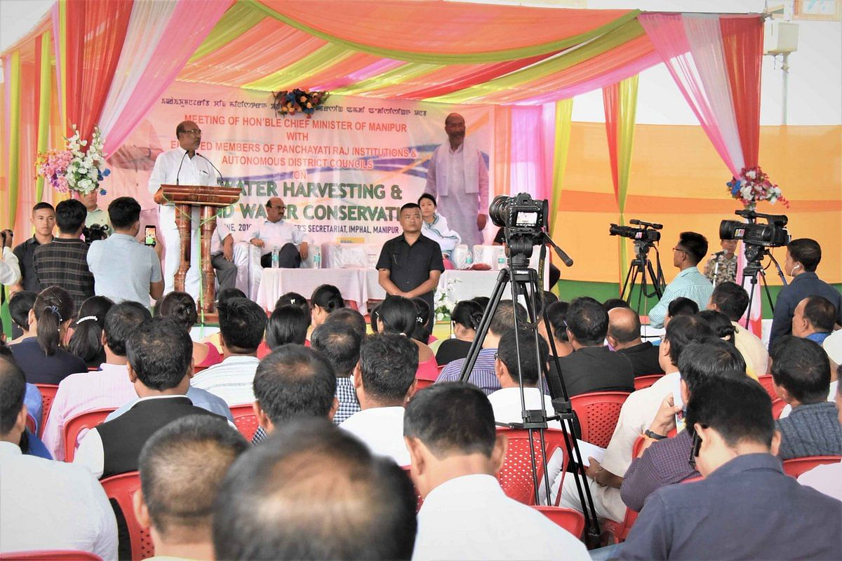 Manipur CM N Biren Singh speaking at a meeting on rainwater harvesting and groundwater conservation in Imphal