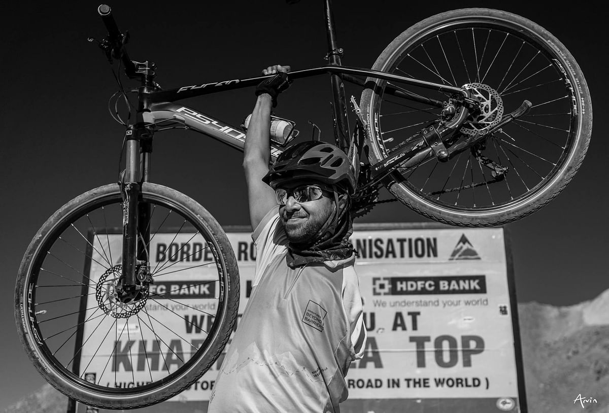 Rachit Kulshrestha after completing the Manali-to-Khardung La track which is about 550 km