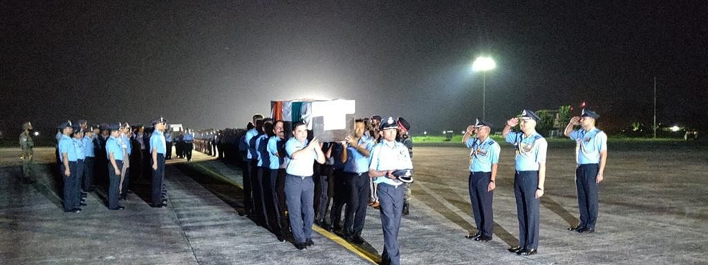 The mortal remains of the 13 air warriors being brought to Jorhat in Assam on Thursday