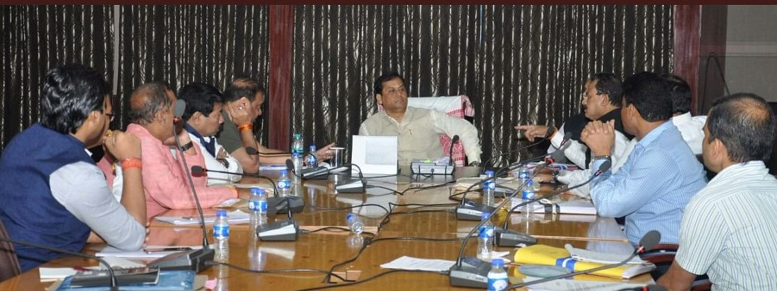 Assam chief minister Sarbananda Sonowal heading a cabinet meeting at Janata Bhawan in Dispur on Monday