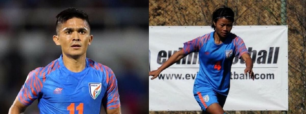 Sunil Chhetri (left) and Loitongbam Ashalata Devi won the coveted AIFF awards