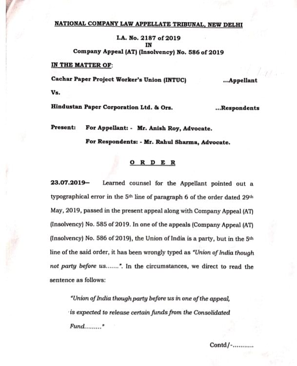 Copy of the NCLAT order issued to Cachar Paper Project Workers' union