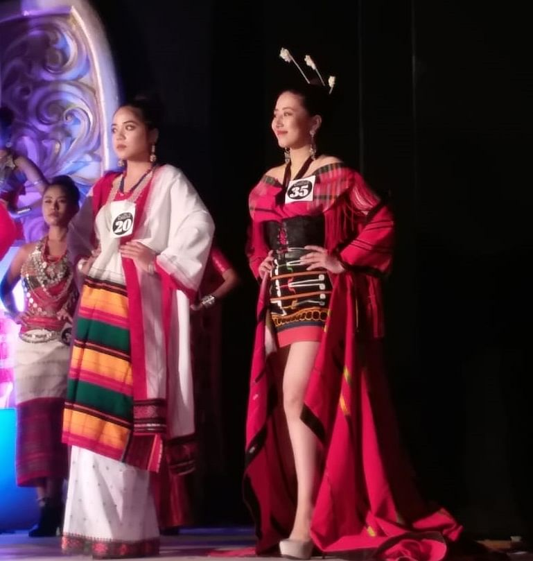 Chanchui Khayi wearing a self-designed Tangkhul traditional costume during the traditional attire round at Miss Northeast India 2019 pageant held in Guwahati, Assam recently