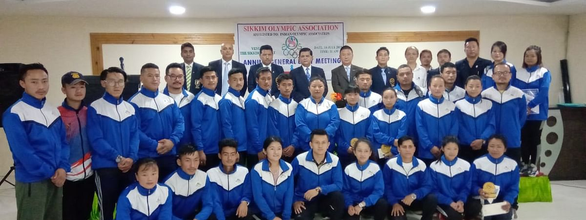 Athletes with the guests at the felicitation ceremony organised by the Sikkim Olympic Association in Gangtok on Monday