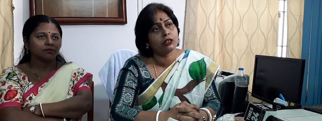 Tripura Commission for Women chairperson Barnali Goswami (right) addressing a press conference in Agartala