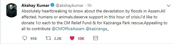 Bollywood actor Akhay Kumar took to Twitter to announce his donation for the flood-affected victims of Assam
