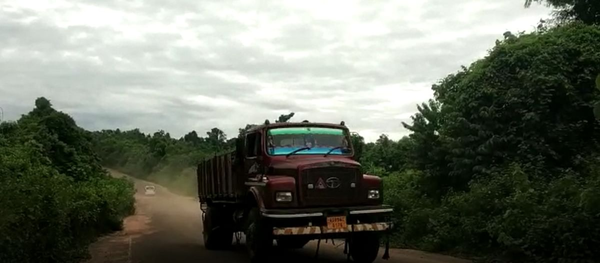 Illegal sand-laden trucks ply from Assam to Dimapur in Nagaland