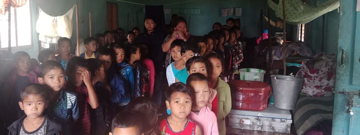 Children of Government Residential School, Kaspi after being evacuated from flash flood-hit West Kameng district