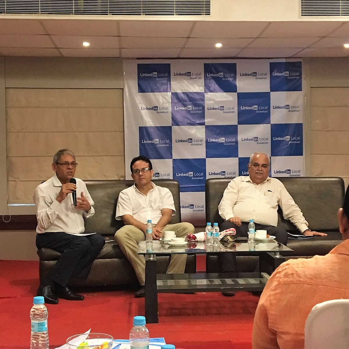 (From left) Freelance corporate trainer Sanjay Kedia; Flugelsoft Group of Companies MD & CEO Kalyanjit Hatibaruah; and Guwahati Management Association director Parag Phukan during a panel discussion on 'Essence of Networking' in Guwahati, Assam on Saturday