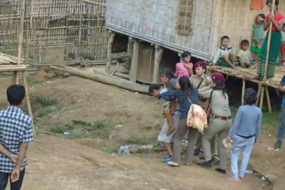 Rakhine refugees being dragged out of Mizoram's Lawngtlai district to be pushed back into Myanmar on July 2