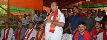 Minister Himanta Biswa Sarma addressing the public on Diphu Medical College campus