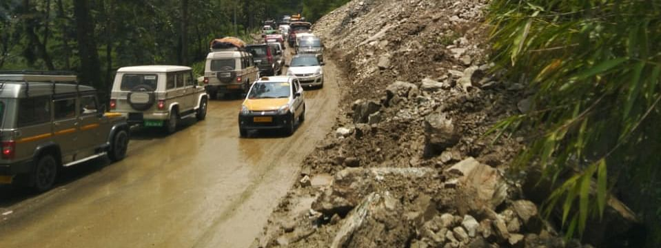 Landslides were reported from the Singtam-Rangpo stretch of NH-10