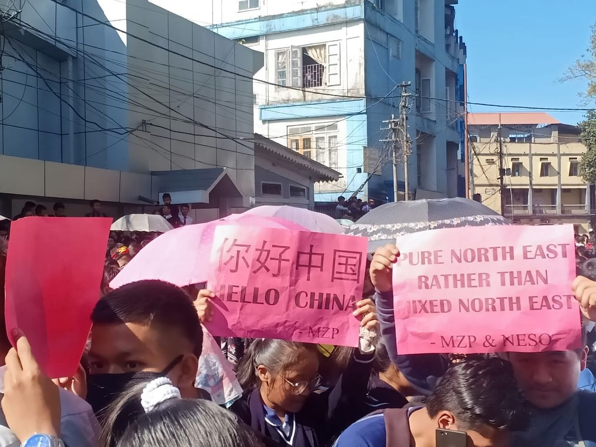 Mizoram residents protesting against the Citizenship (Amendment) Bill
