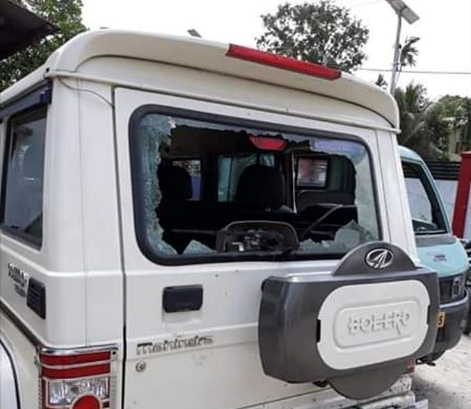 Miscreants even damaged a Mahindra Bolero SUV parked in the hotel premises