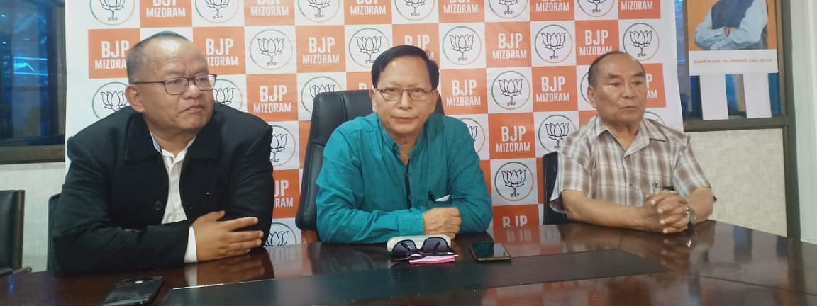 Mizoram BJP leaders addressing a press conference in Aizawl on Wednesday