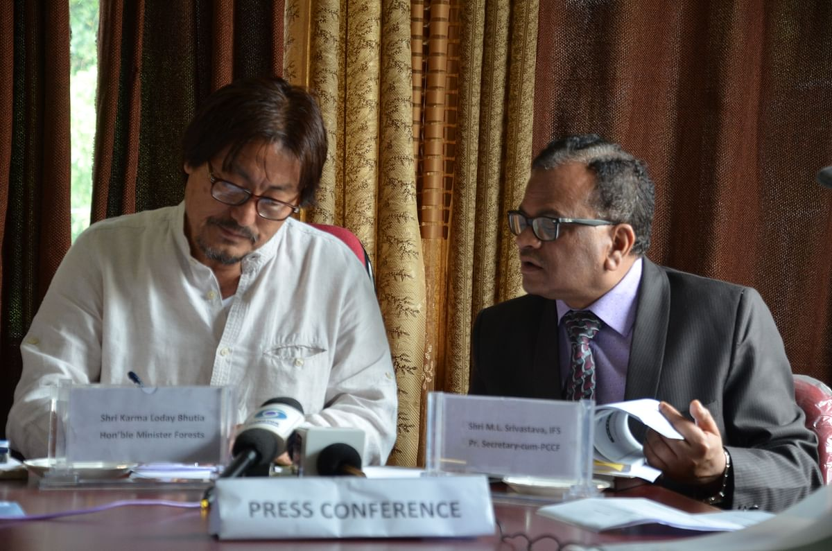 Sikkim forest minister Karma Loday Bhutia (left) and principal secretary ML Srivastava during a press conference in Gangtok