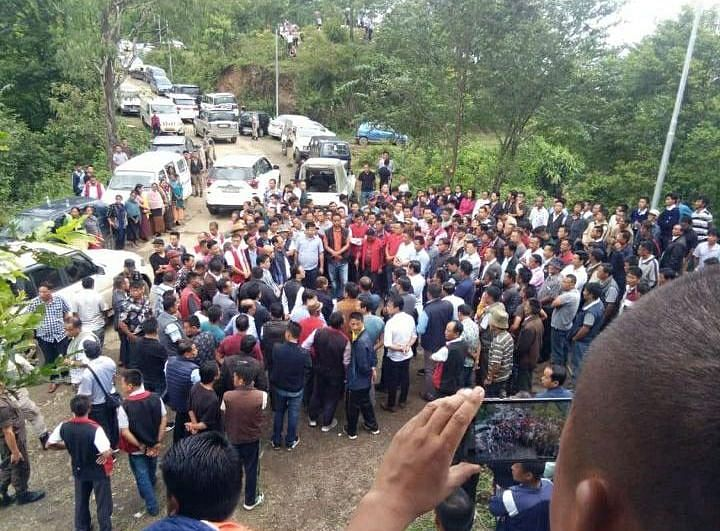 Hundreds of people gathered at Neipuchachie junction in Nagaland's Kohima district blocking the way leading to the reservoir