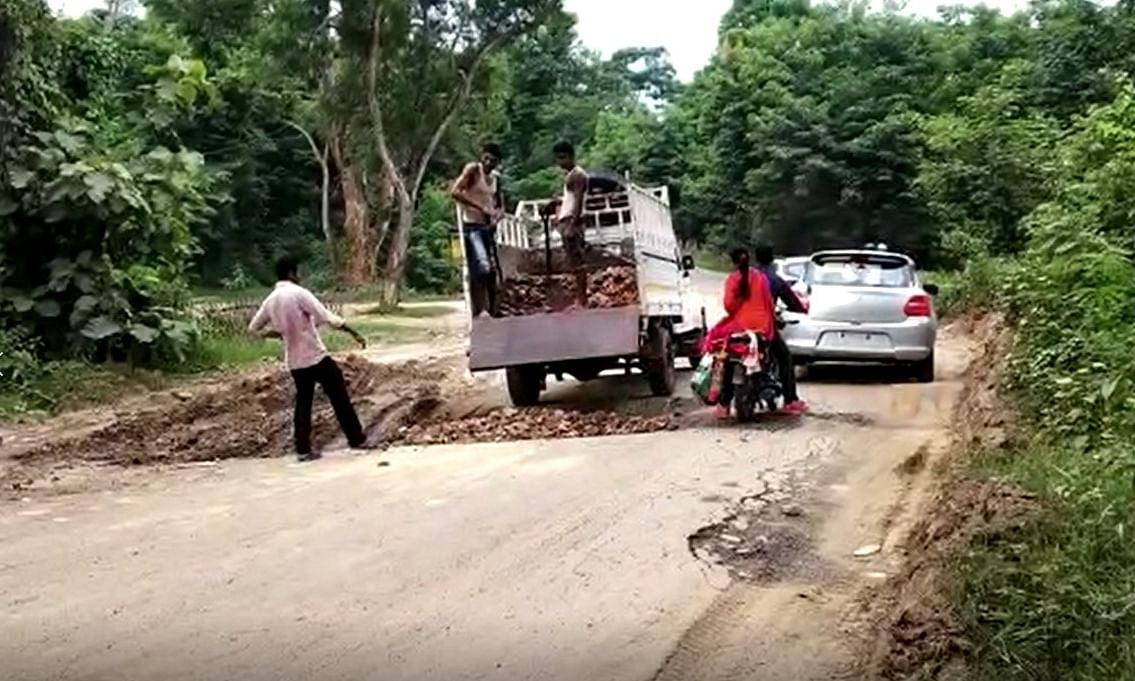 Ahead of Assam minister visit, neglected Diphu road gets attention