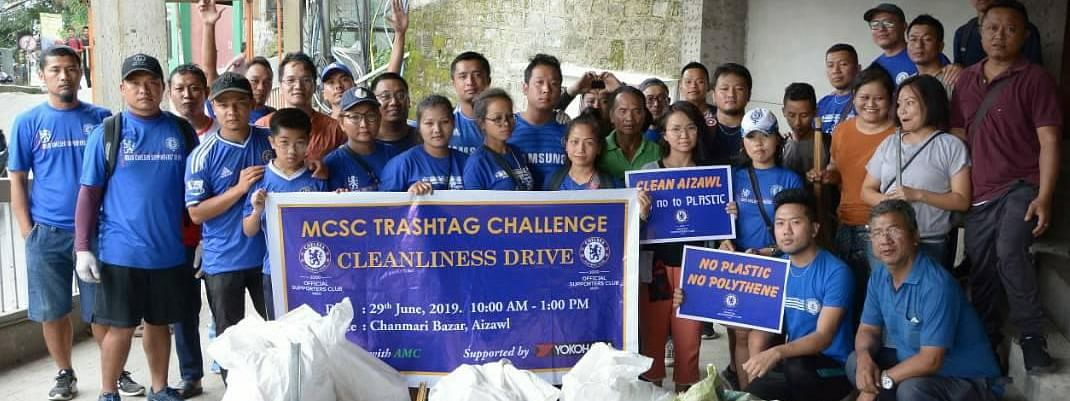 Mizo Chelsea Supporters' Club members undertaking a Trashtag Challenge in Aizawl on June 29