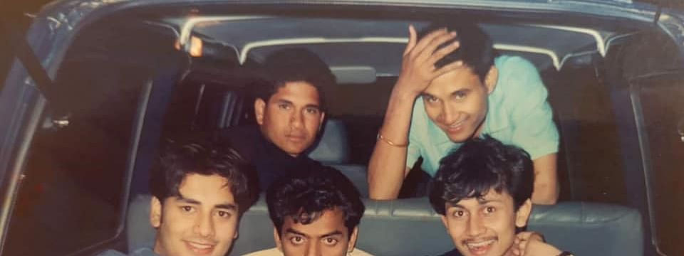 Former Indian cricketers Sachin Tendulkar (top left) and V Raju (centre) with former Guwahati hotelier Agnirath Chowdhury (left, sitting) during their long drive in Guwahati in the early 1990s