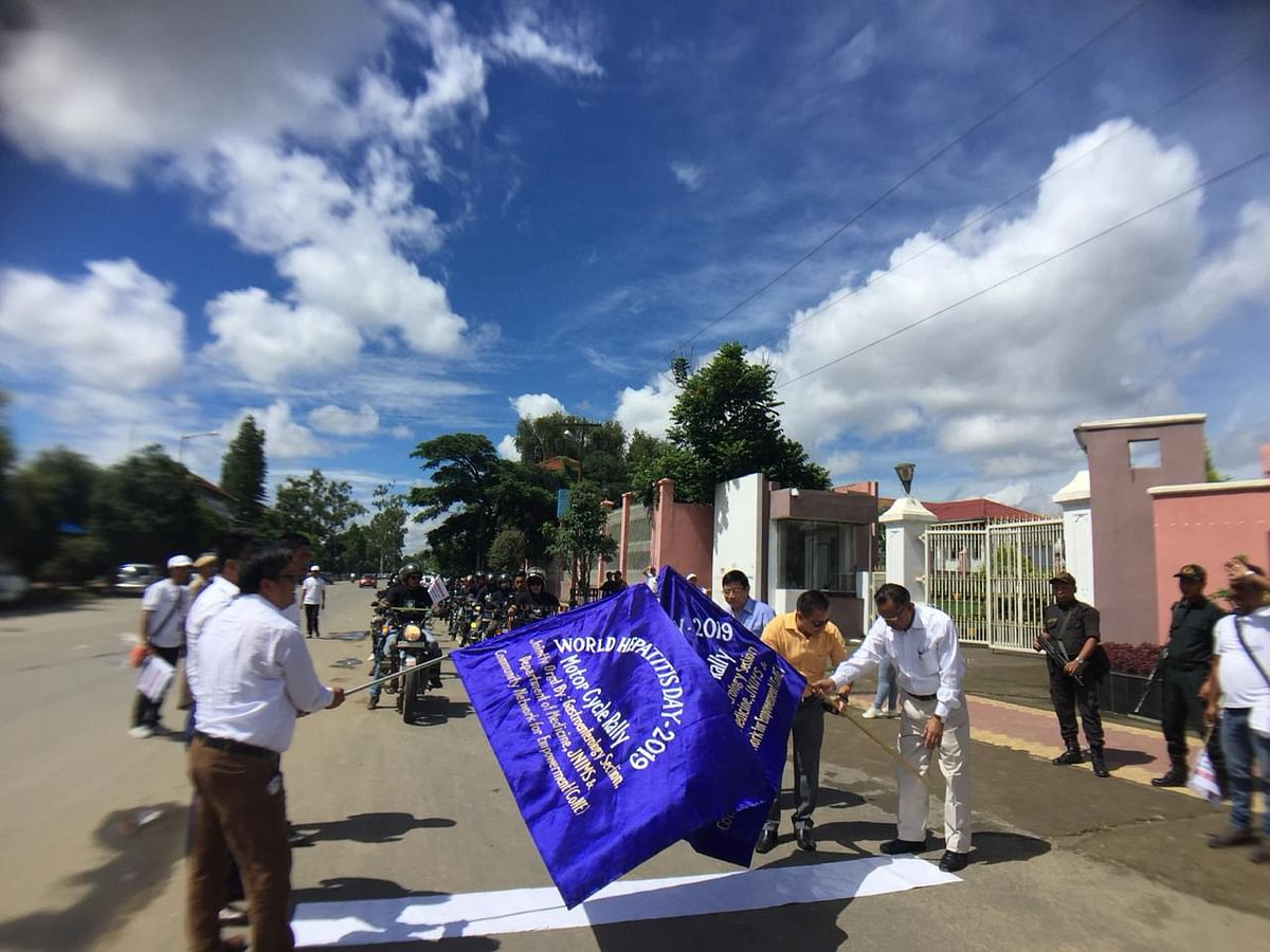 A motor cycle rally being flagged off to mark World Hepatitis Day in Imphal, Manipur