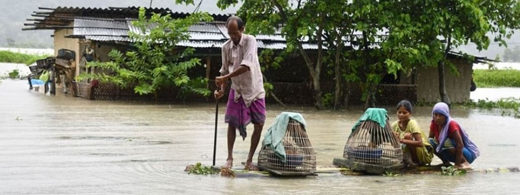 Over 2,523 villages across 19 districts of Assam are still submerged in flood water