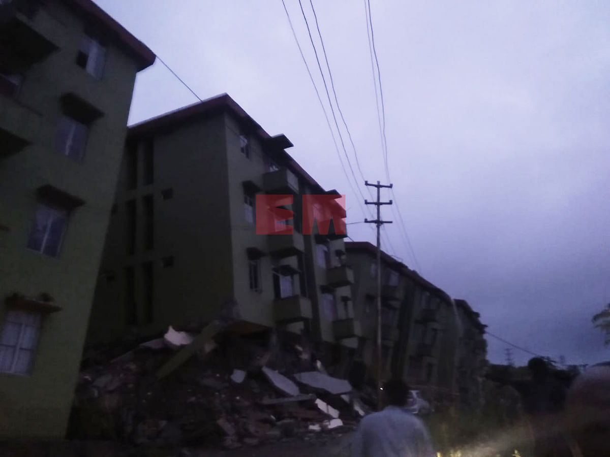 The 3 building blocks (marked in blue) that collapsed near Aizawl in Mizoram on Tuesday evening