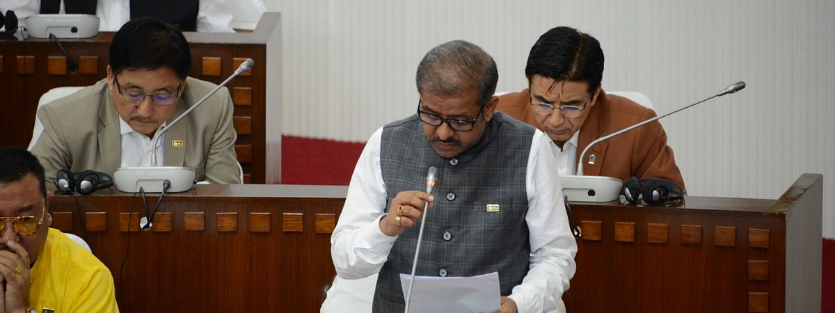 Minister MK Sharma replying to a question during the third day of the ongoing budget session in Sikkim Legislative Assembly on Wednesday