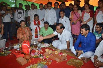 Assam minister Himanta Biswa Sarma laying foundation stone for the BJP district office in Diphu, Karbi Anglong on Thursday