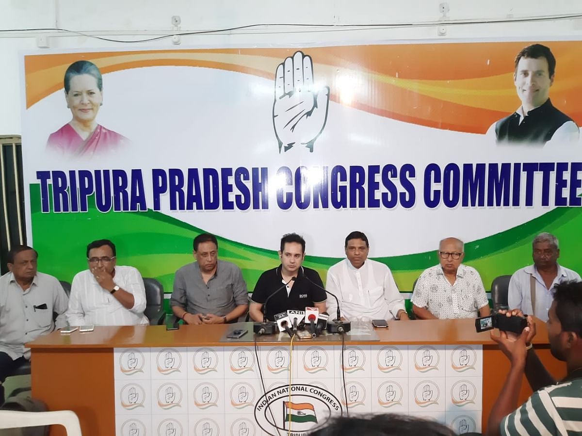 IPFT president and revenue minister NC Debbarma (left) with general secretary and forest minister Mewar Kumar Debbarma (middle) addressing a press conference in Agartala