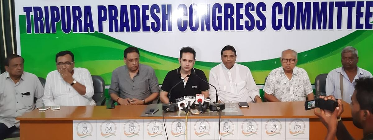 Tripura PCC president Pradyot Kishore Manikya DebBarman (middle) addressing a press conference late on Monday