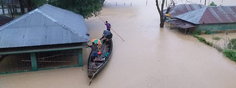 An inundated area at Tlabung in Mizoram's Lunglei district
