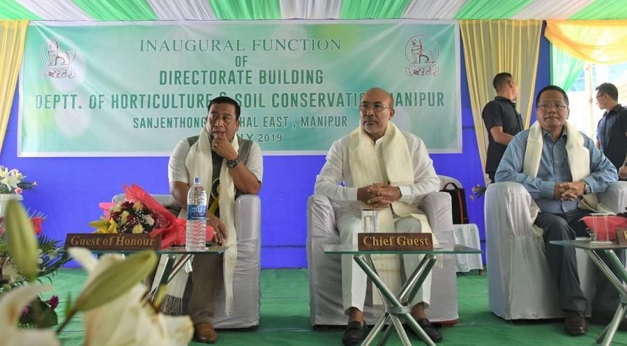 Manipur CM N Biren Singh and minister Th Shyamkumar at the inaugural function of the directorate building of the department of horticulture and soil conservation in Imphal