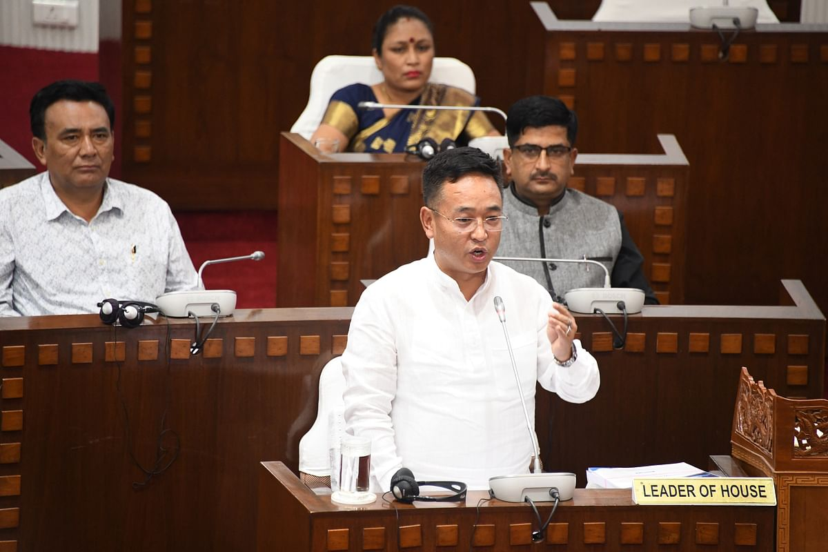Chief minister PS Golay addressing the House on Tuesday