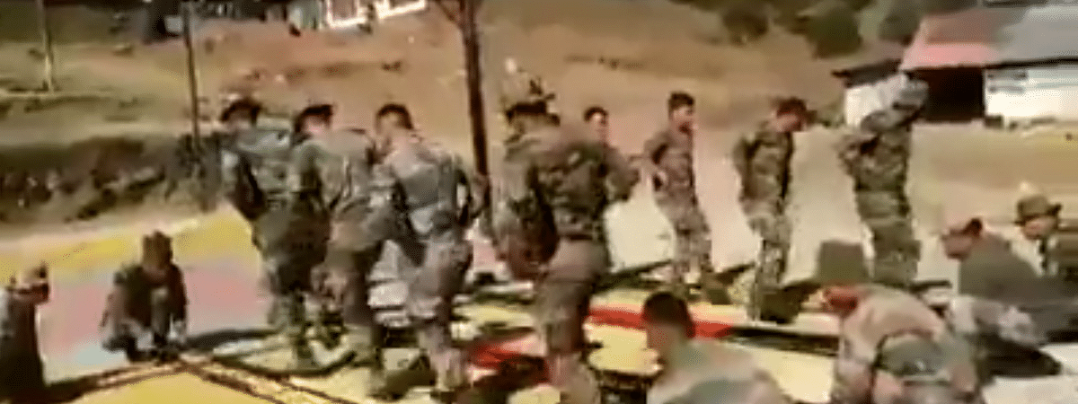 Mizo jawans of Indian Reserve Battalion posted in Assam are performing bamboo dance