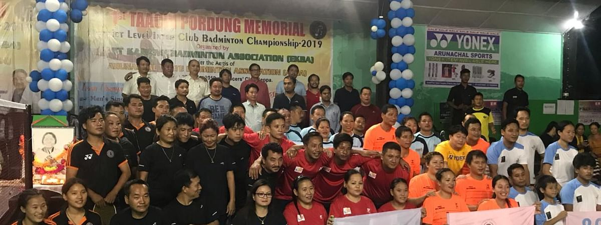 Participants of the first edition of Taachi Pordung Memorial District Level Inter-Club Badminton Championship in Seppa, Arunachal Pradesh