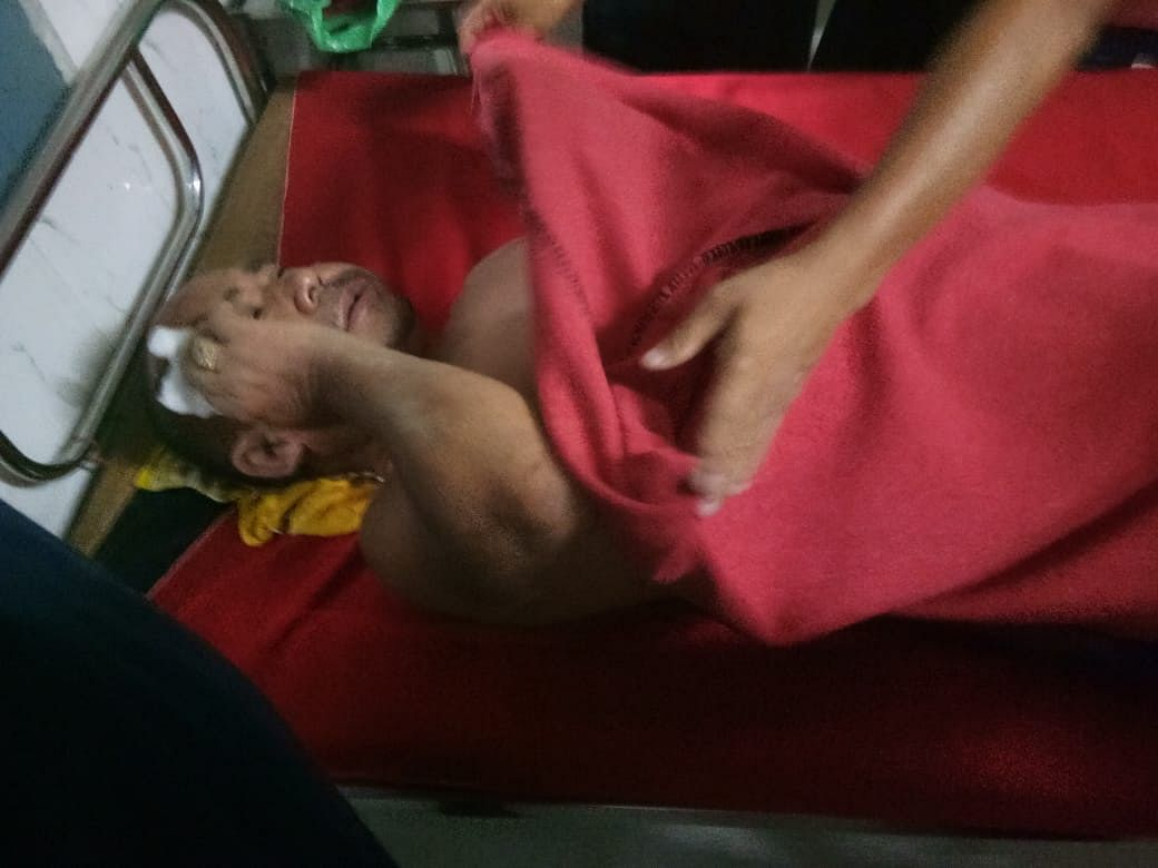 One of the injured, Tarin Mosu (40), undergoing treatment at Ramakrishna Mission Hospital, Itanagar