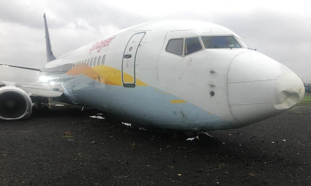 PHOTOS: SpiceJet aircraft skids off runway while landing in Mumbai