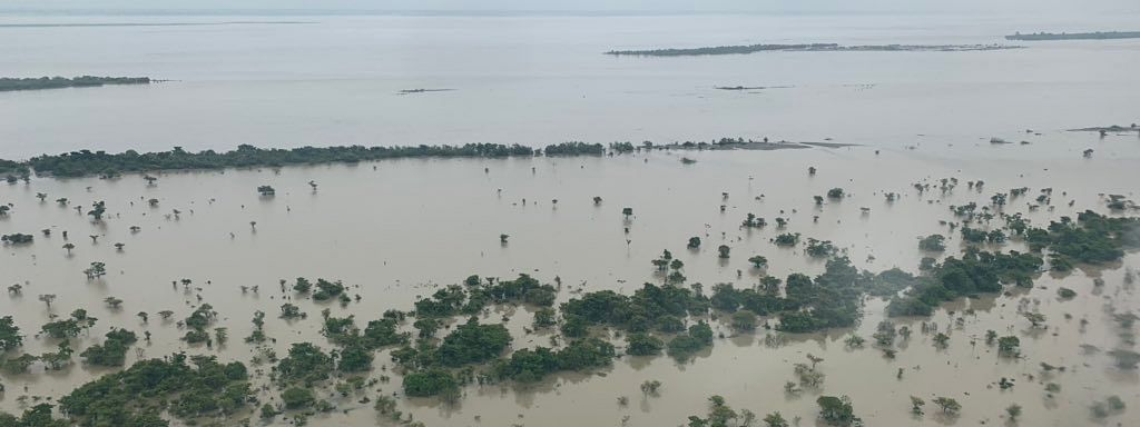 Union minister for jal shakti Gajendra Singh Shekhawat made an aerial survey of the flood situation in various parts of upper Assam districts on Tuesday