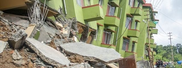 Three people were killed, 11 injured when three blocks of a housing complex collapsed due to a landslide on Tuesday evening