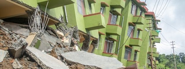 Three people were killed, 11 injured when three blocks of a housing complex collapsed due to a landslide near Aizawl in Mizoram on July 2